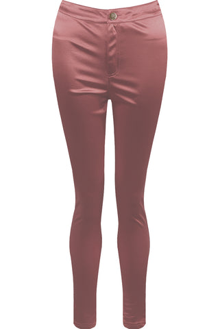 High Shine Satín Leggings - Rose