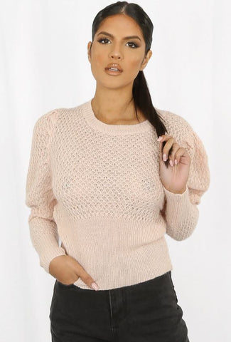 Monica - knitted peysa - rose