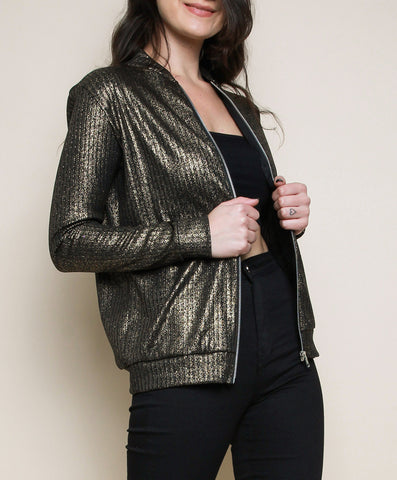 Metallic Bomber Jakki - Gold
