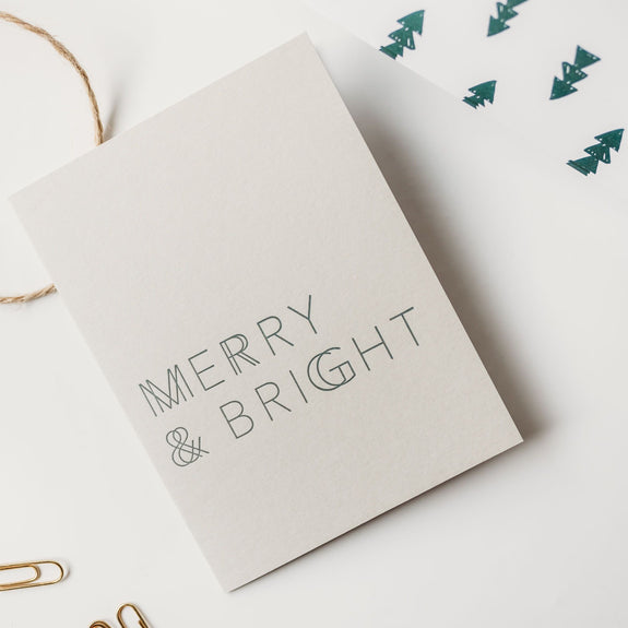 Merry & Bright A2 Letterpress Card