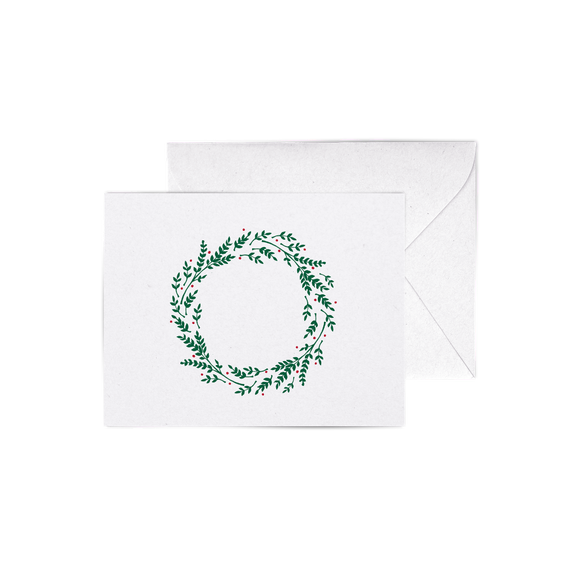 Christmas Wreath A2 Letterpress Cards