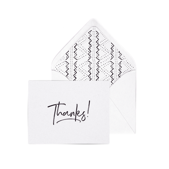 Thanks! letterpress card pack with modern dots envelope liners