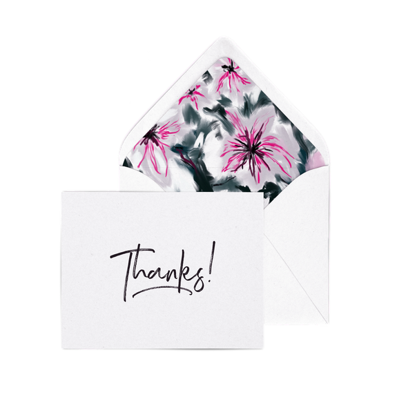 Thanks! letterpress card pack with Lilies envelope liners