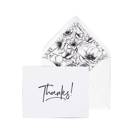 Thanks! letterpress card pack with modern flowers envelope liners