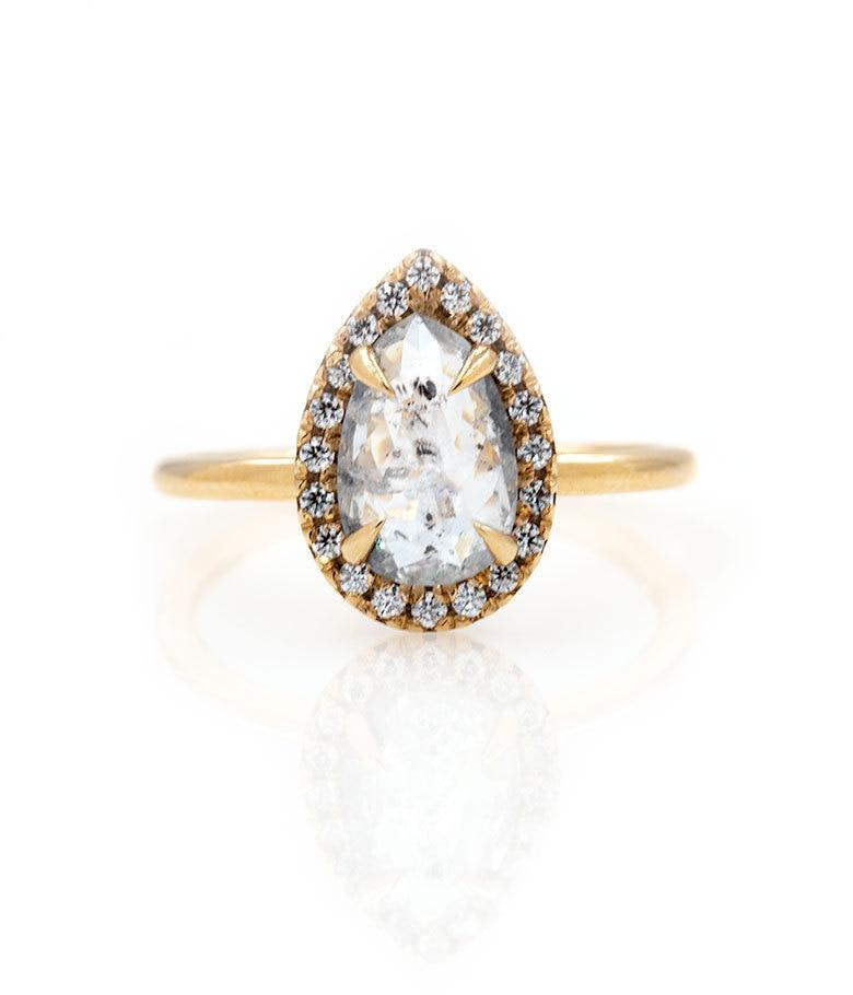 1.28 Light Grey Translucent Pear Diamond with Halo