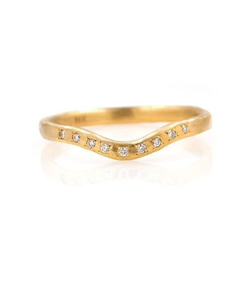 18k Gentle Curved Diamond Band - LoveAudryRose.com