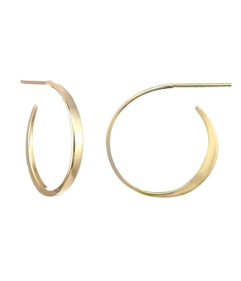 18k Medium Sleek Tapered Hoops