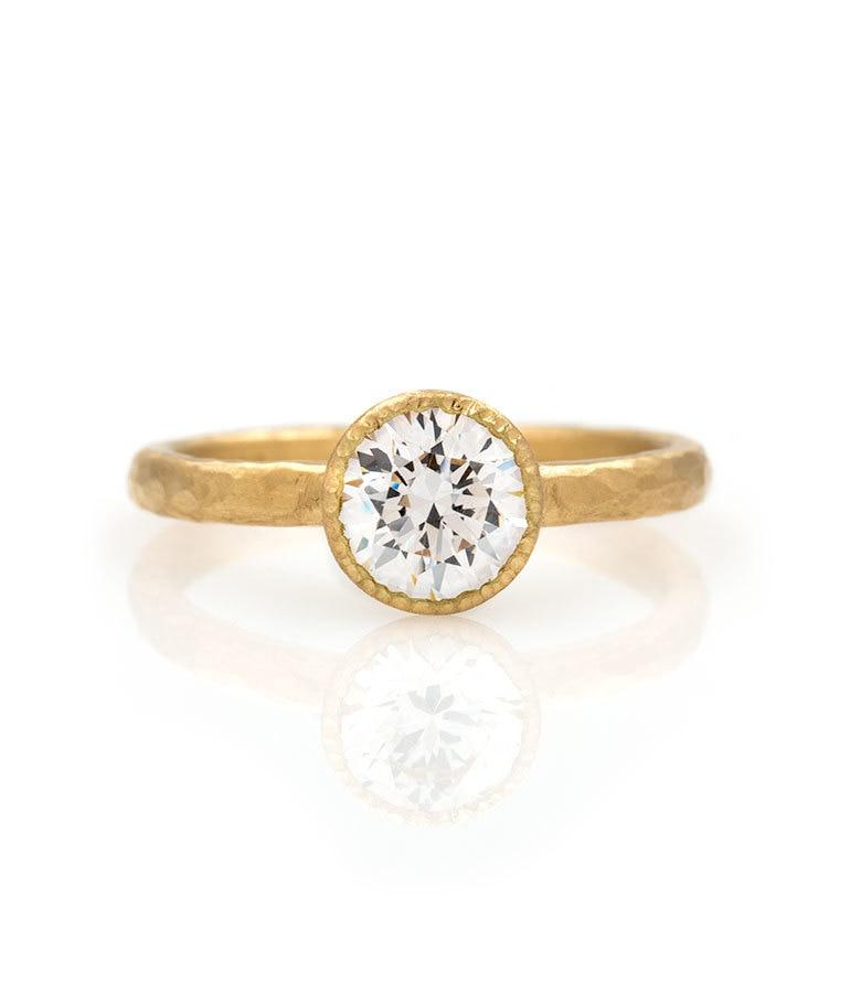 18k Bezel Set 1 Carat Diamond Ring - LoveAudryRose.com