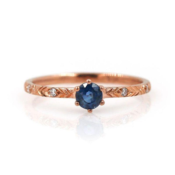 Prong Set Round Sapphire Ring - LoveAudryRose.com