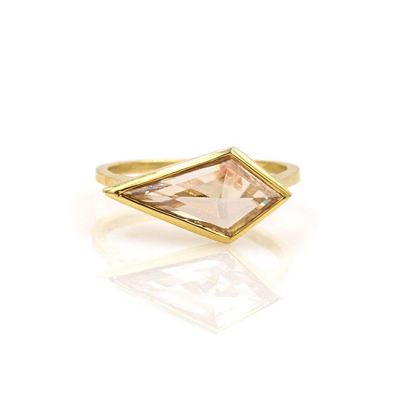 Trapeze Champagne Diamond Ring