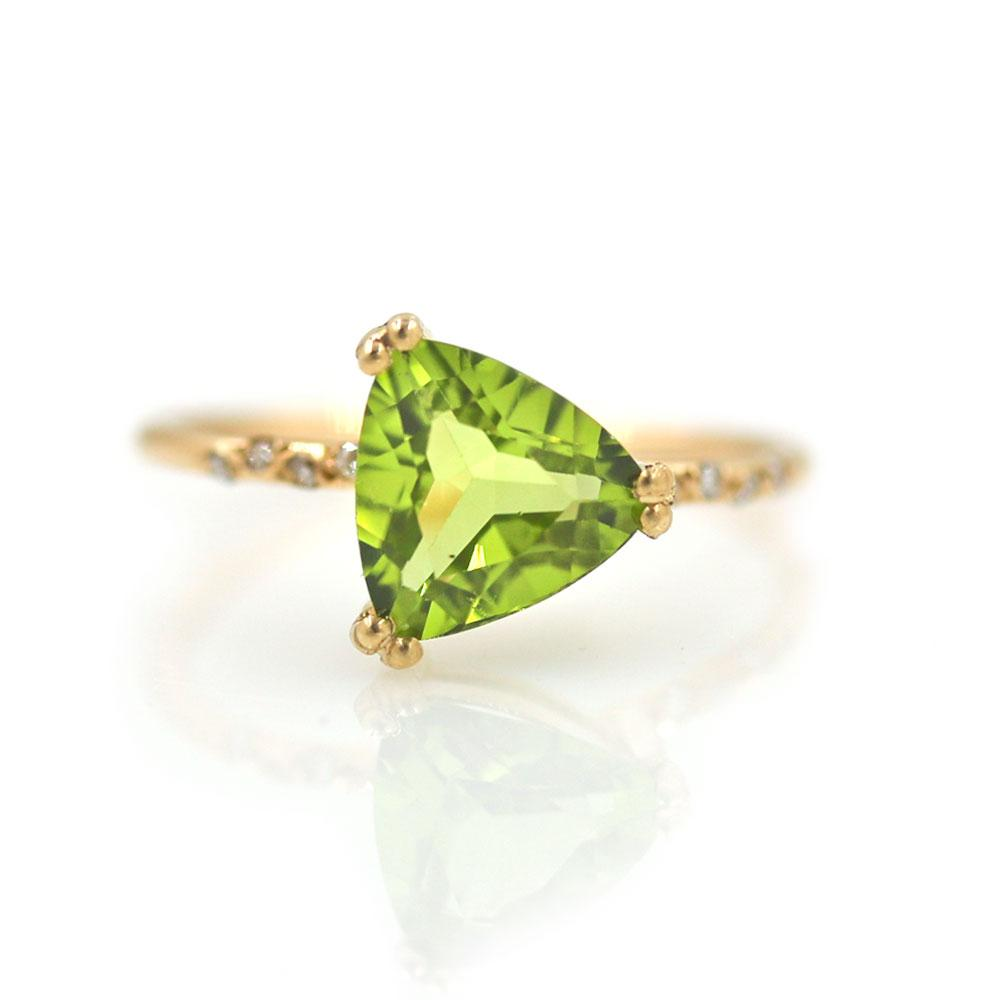 Starry Peridot Trillion Ring