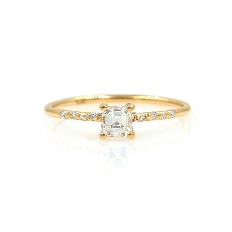 Starry Asscher Cut Diamond Ring