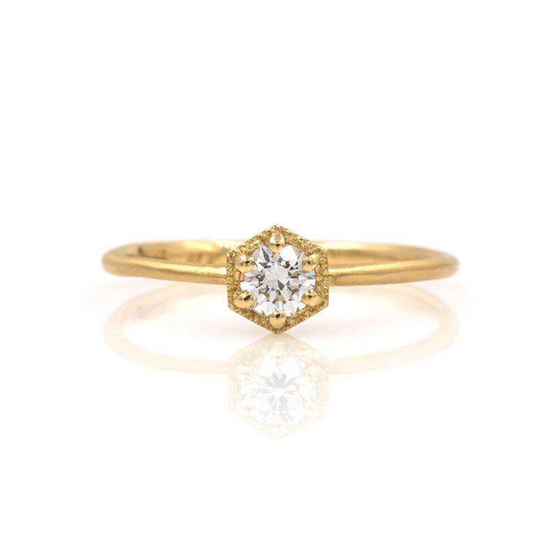 18k Diamond Hexagon Solitaire Ring - LoveAudryRose.com