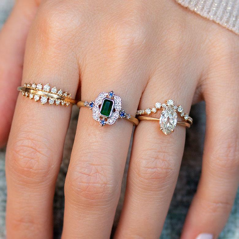 18k Two Toned Emerald, Sapphire, & Diamond Ring