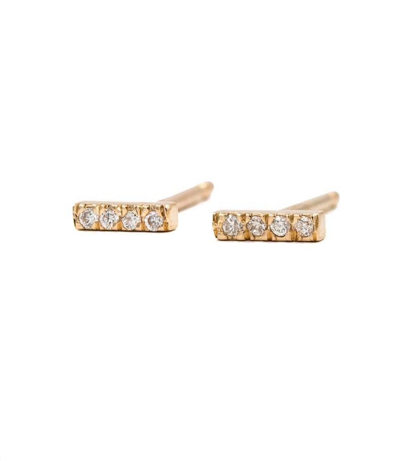 Mini Diamond Bar Studs - LoveAudryRose.com