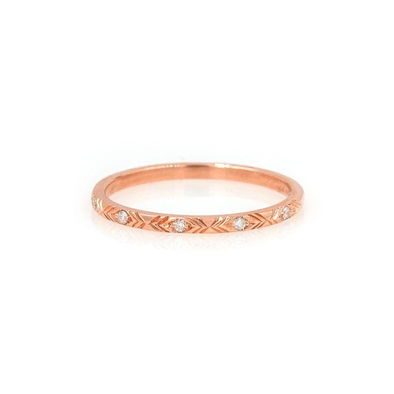 Rose Gold Etched Diamond Ring - LoveAudryRose.com