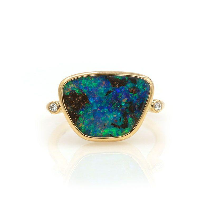 Boulder Opal Diamond Ring - LoveAudryRose.com