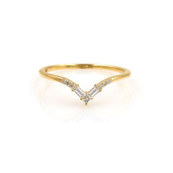 Baguette and Princess Diamond V Band