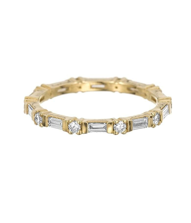 Baguette and Round Diamond Eternity Band - LoveAudryRose.com