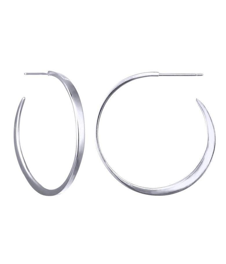 Sterling Silver Large Tapered Hoops