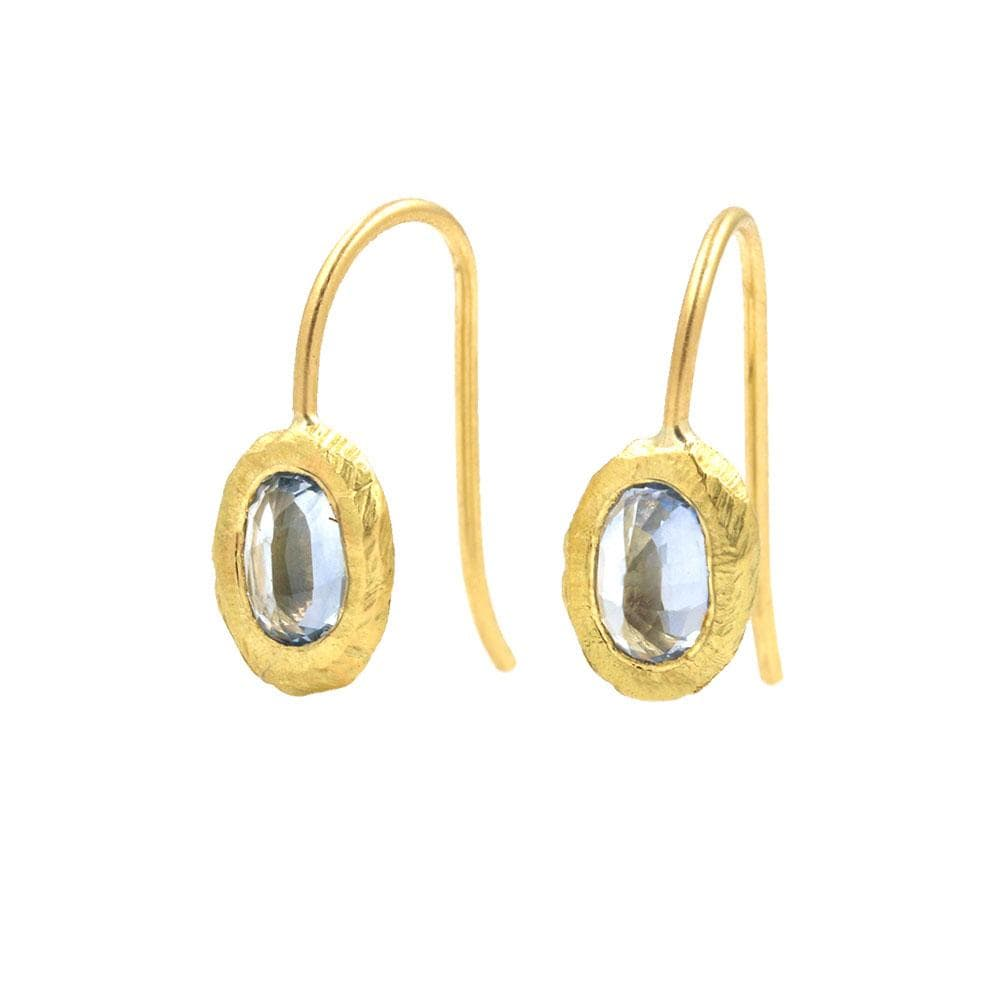 18k Oval Sapphire Hook Earrings