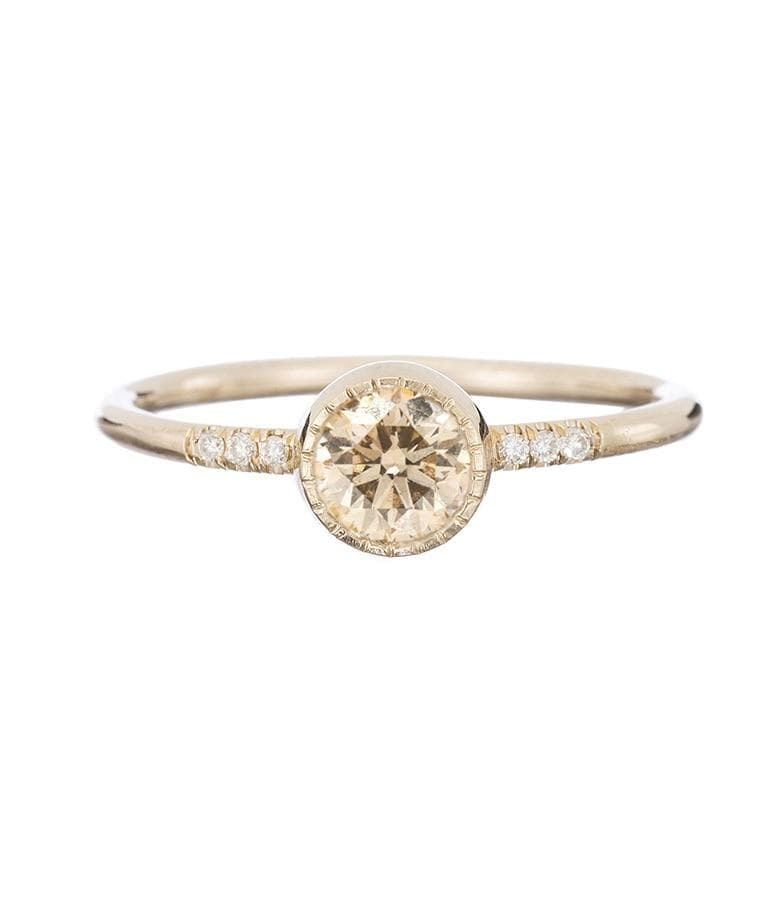 Solitaire Diamond Ring with Pave
