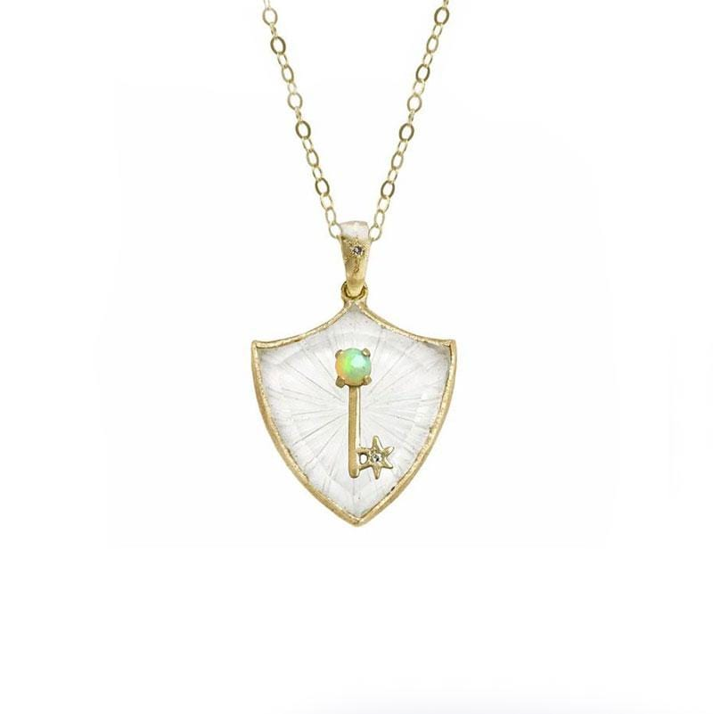 Large Shield Opal Key Quartz Amulet Necklace