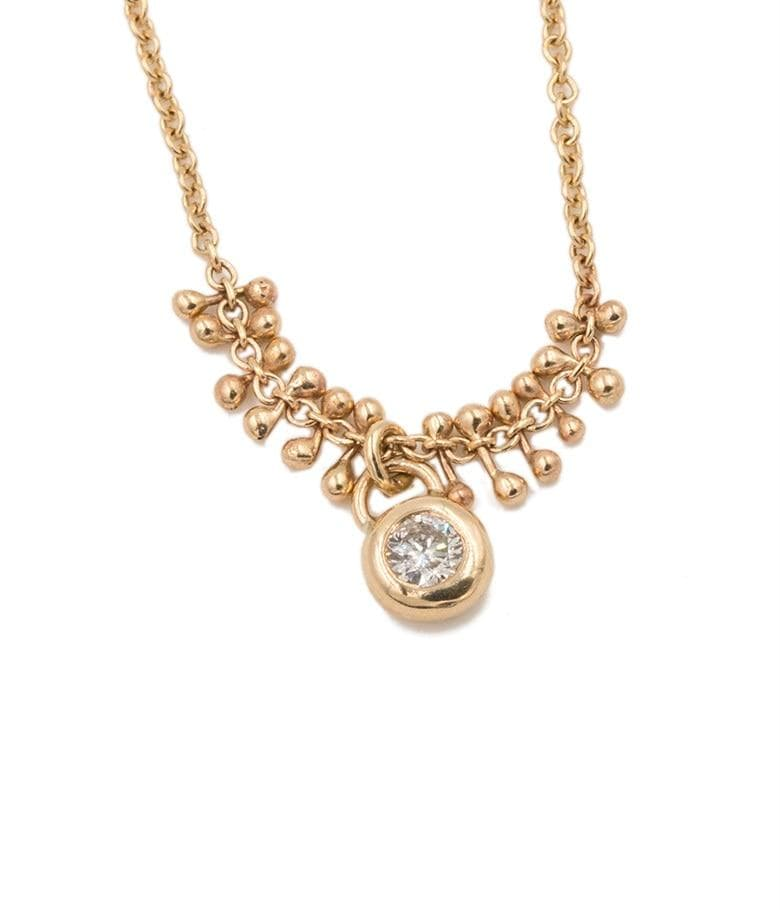 Gold bead Diamond Drop Necklace