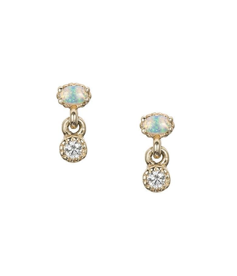 Diamond Opal Drop Studs