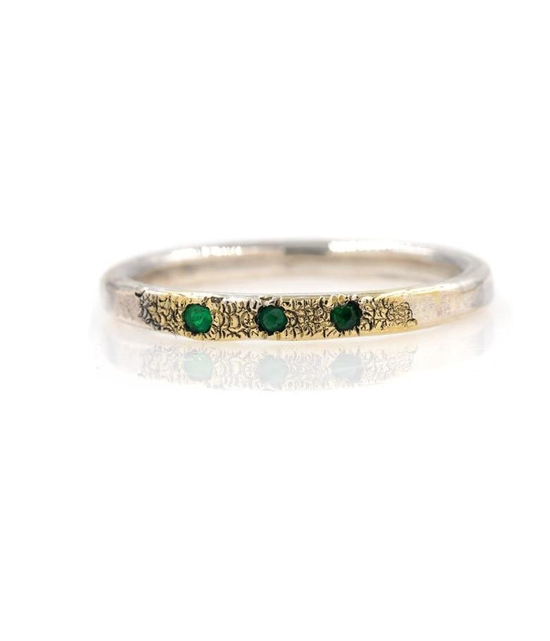 Sterling Silver and 18k Gold Emerald Band*** - LoveAudryRose.com