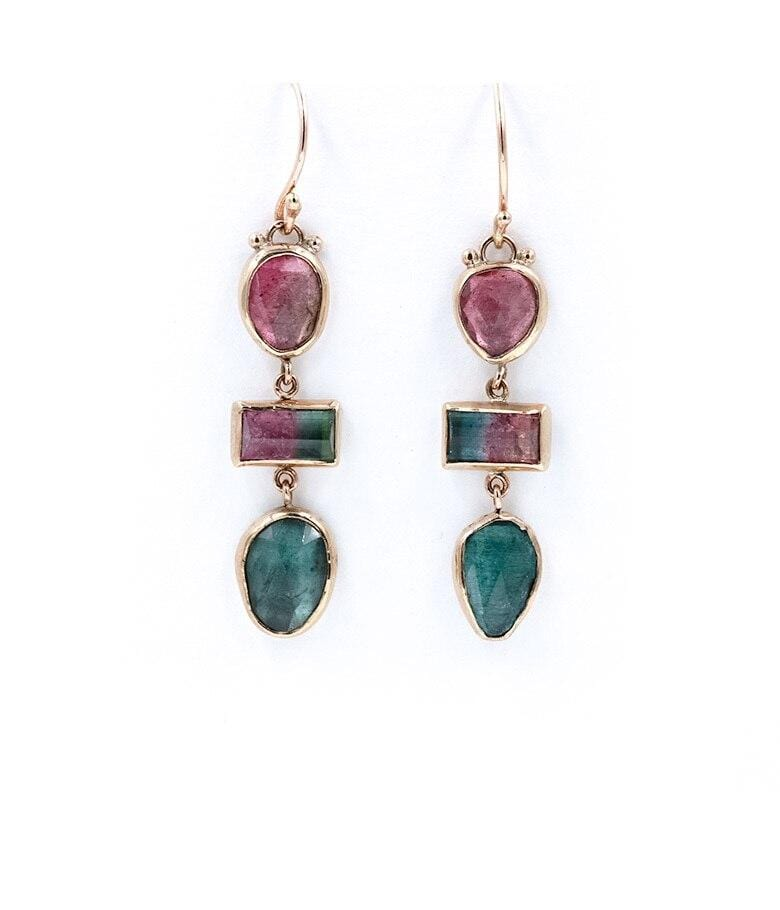 Watermelon Tourmaline Drop Earrings