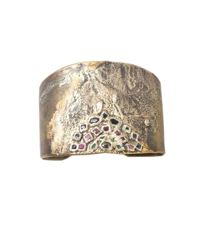 Large Multi-Stone Hand-formed cuff