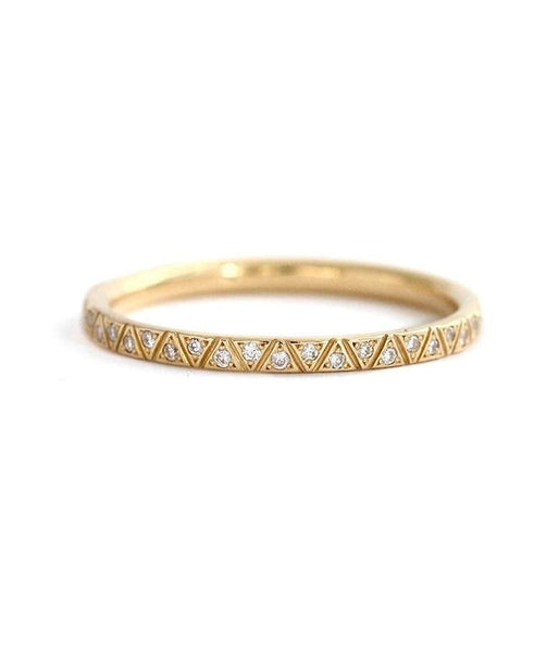 18K Geometric Engraved Diamond Eternity Band
