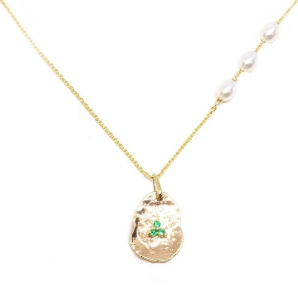 Pearl and Emerald Petal Necklace - LoveAudryRose.com