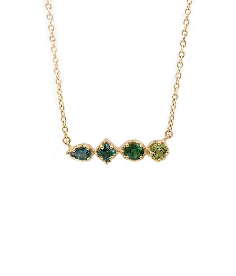 18k Blue Green Ombre Bar Necklace