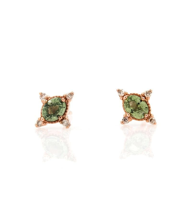 Rose Gold Green Sapphire and Diamonds Studs - LoveAudryRose.com