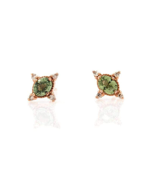 Rose Gold Green Sapphire and Diamonds Studs*** - LoveAudryRose.com