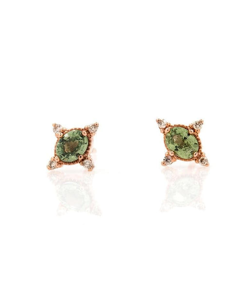 Rose Gold Green Sapphire and Diamonds Studs
