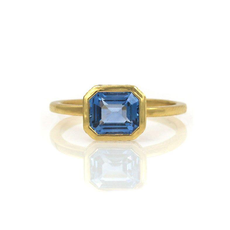 Emerald Cut Blue Sapphire Secret Garden Ring
