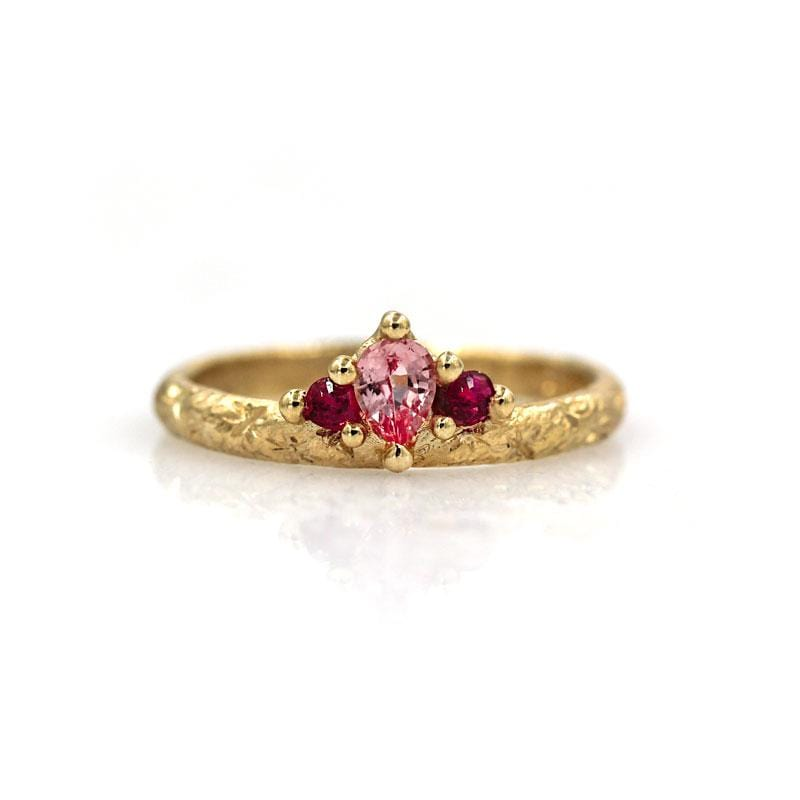 Pink Sapphire Ruby Crown Ring
