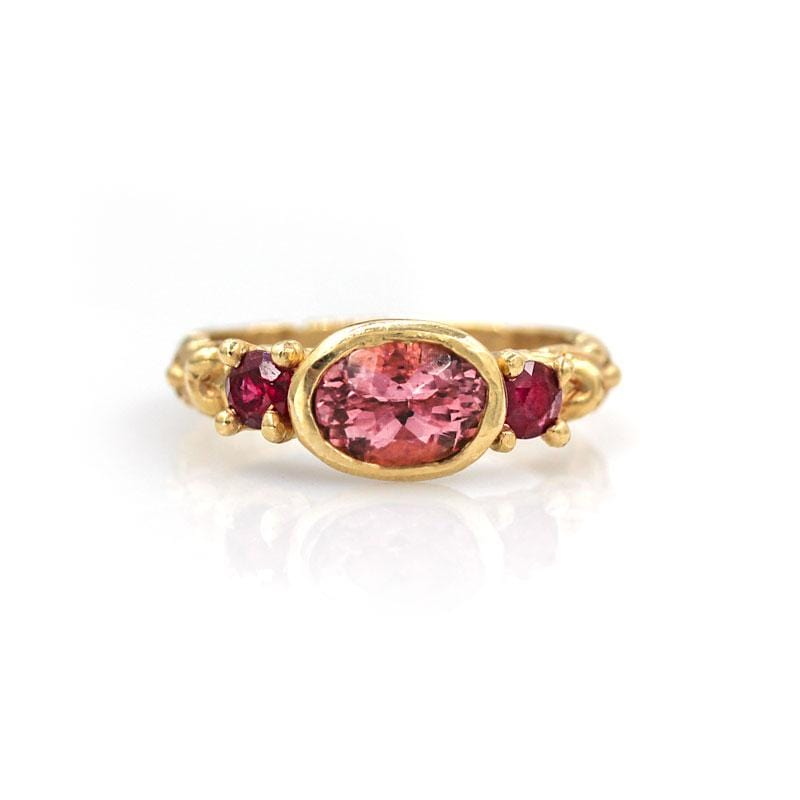 Pink Tourmaline & Ruby Trilogy Ring