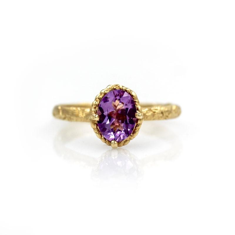 Amethyst Engraved Solitaire Ring