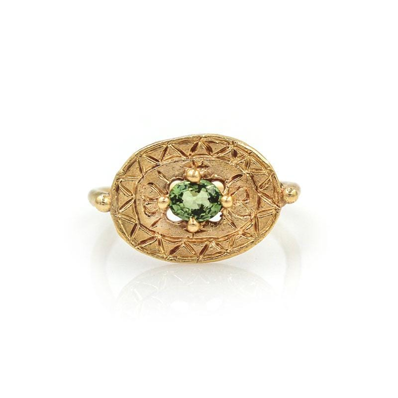 Green Sapphire Shield Ring