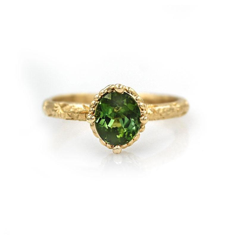 Green Tourmaline Engraved Solitaire Ring