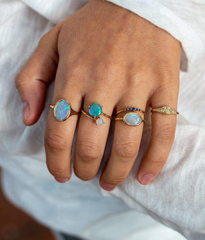 East-West Opal Light Ring