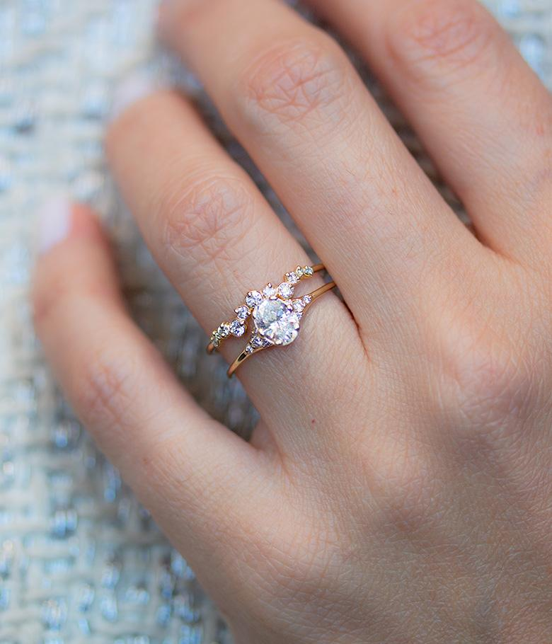 Oval Lady's Slipper Diamond Engagement Ring