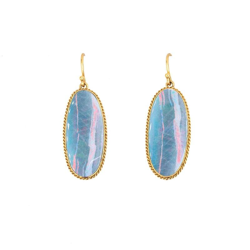 18k Pink and Blue Opal Earrings - LoveAudryRose.com