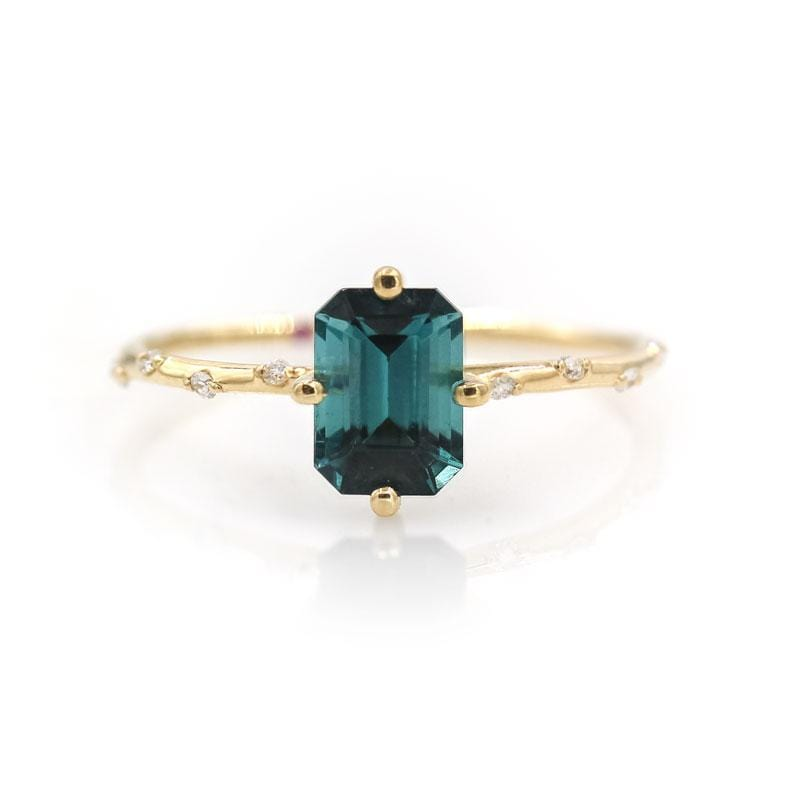 Starry Teal Tourmaline Ring