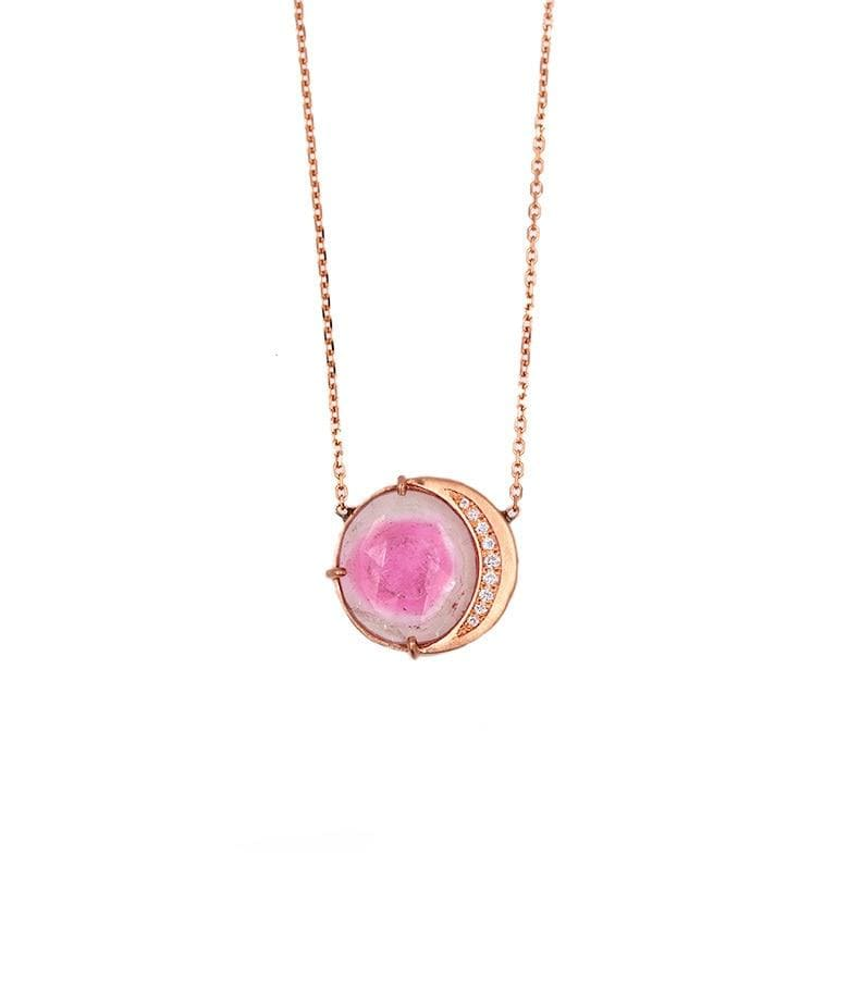 Waning Crescent Watermelon Tourmaline Necklace