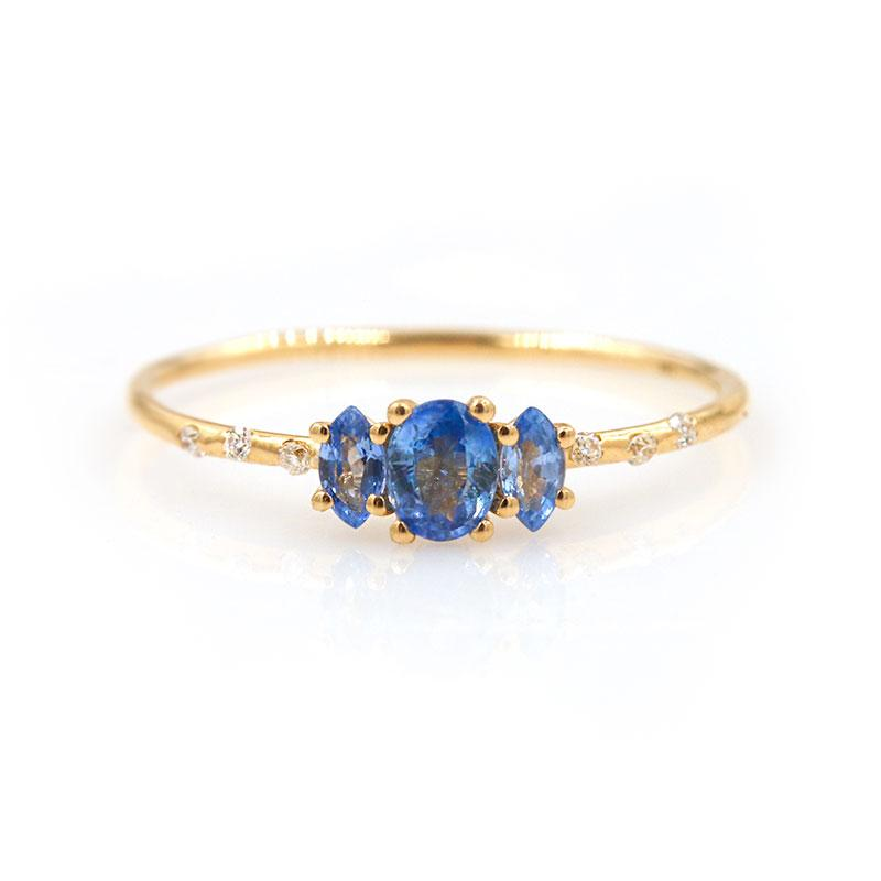 Starry Oval Sapphire Trio Ring - LoveAudryRose.com